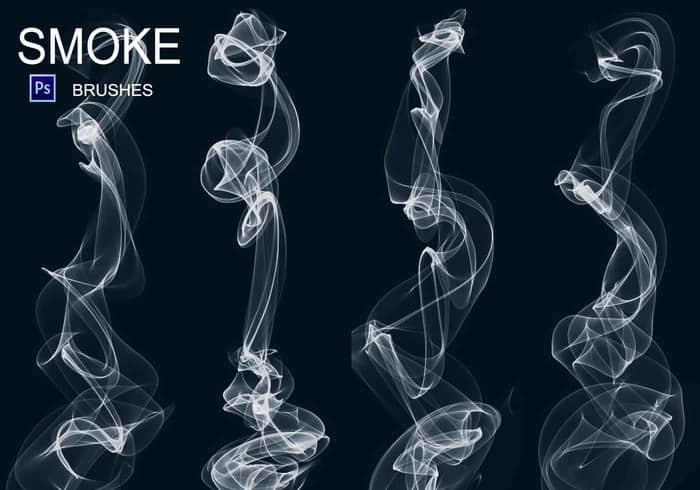 20种烟雾效果、流烟形状Photoshop笔刷素材下载