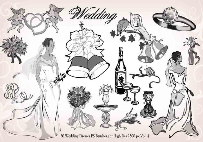 20种婚礼元素装扮图形PS笔刷下载 婚礼笔刷  adornment brushes