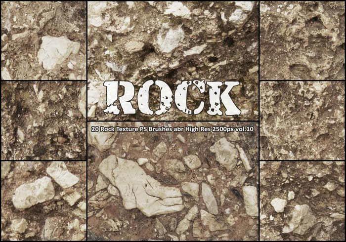 20种高清岩石纹理PS笔刷 abr vol.10