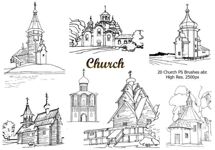 20教堂建筑PS笔刷下载