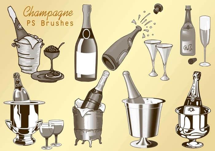 20种香槟酒瓶、酒杯与葡萄酒瓶子造型Photoshop素材笔刷 香槟笔刷 酒瓶笔刷 葡萄酒笔刷 杯子笔刷  other brushes