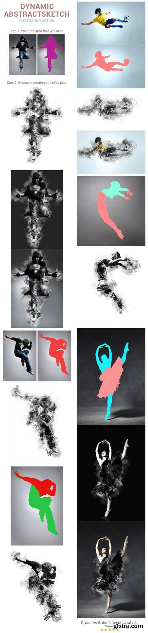 创意抽象人物剪影效果Photoshop笔刷素材(含atnPS动作文件)