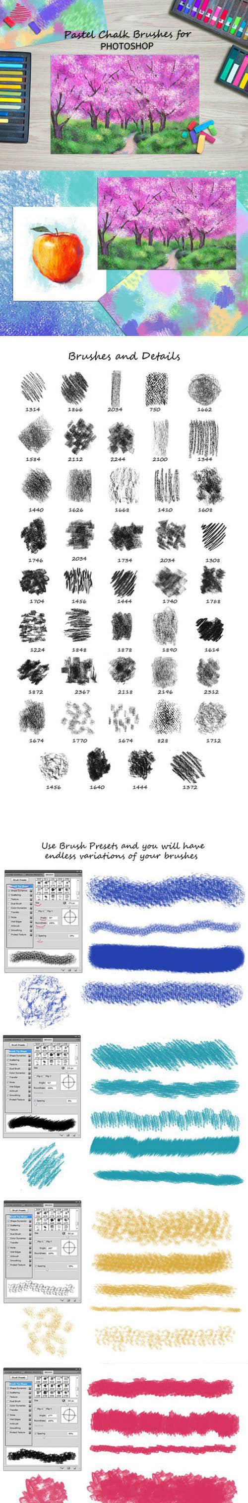 高品质粉笔、蜡笔涂抹效果、眉笔笔触PS笔刷素材下载