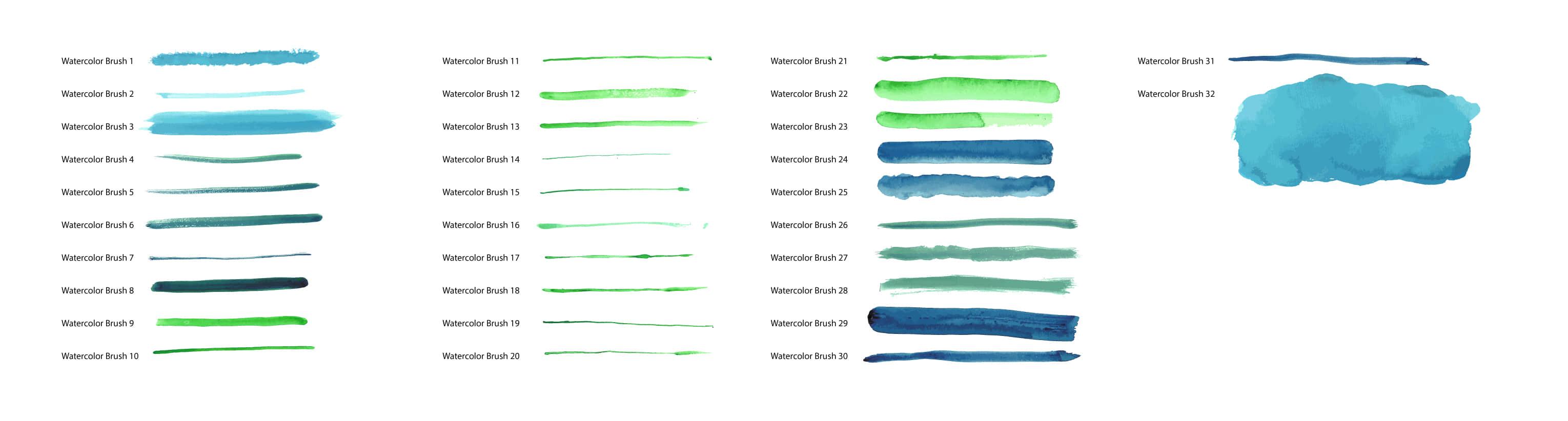 32种水彩、水笔、水墨划痕效果Photoshop笔刷素材下载