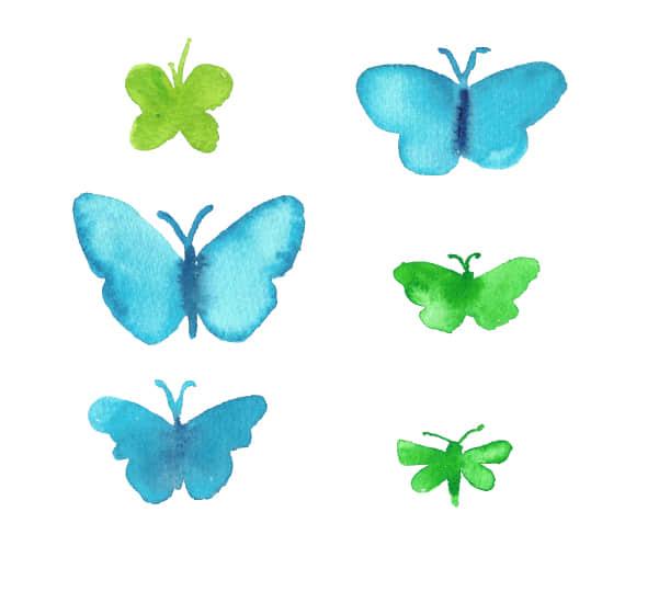 手绘水彩、水墨蝴蝶造型PS笔刷下载