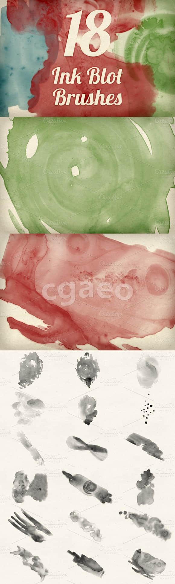 18种水墨水彩绘图PS水粉笔刷 水粉笔刷 水彩笔刷 水墨笔刷  photoshop brush