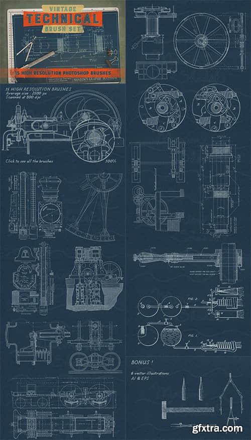 机械制图、科学工程图纸PS科技笔刷