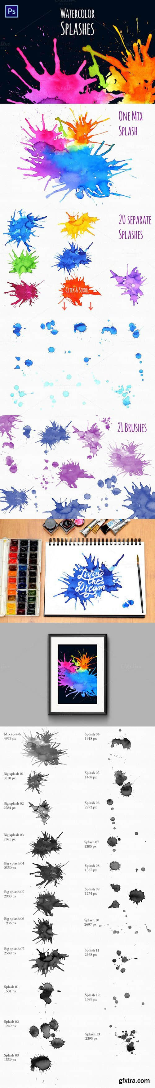 超高清水彩喷溅效果、油漆水墨滴溅Photoshop笔刷免费下载