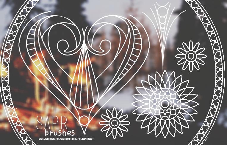 手绘小清新花纹、纹饰图案Photoshop笔刷下载 照片美图笔刷 照片美化笔刷 小清新笔刷  adornment brushes