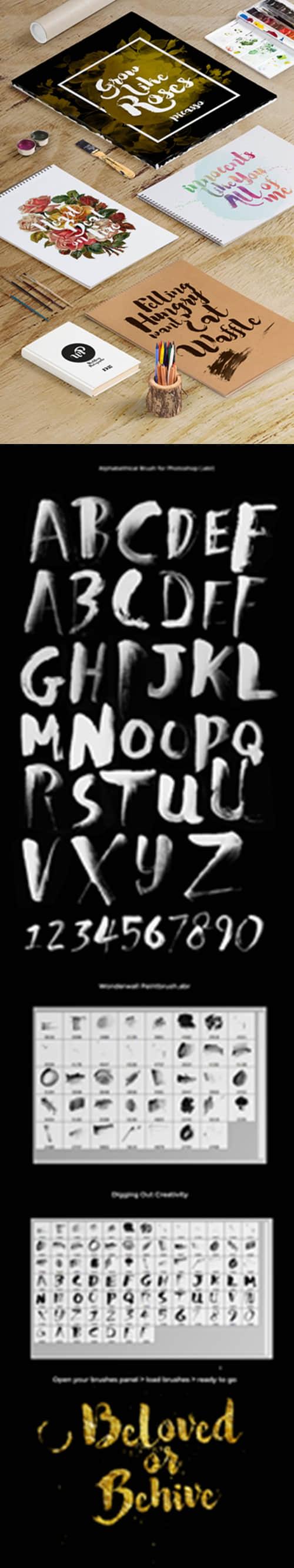 酷毛笔刷子样式字母和数字PS笔刷下载