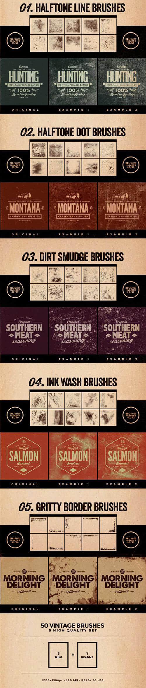 50种复古效果、破旧污渍纹理PS背景笔刷