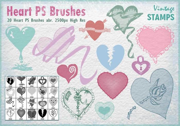 20种恋爱、情人节爱心图形装扮PS笔刷素材 美图笔刷 爱心笔刷 照片装饰笔刷 情人节笔刷  love brushes