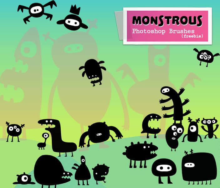 25种可爱卡通小怪兽Photoshop照片美图笔刷