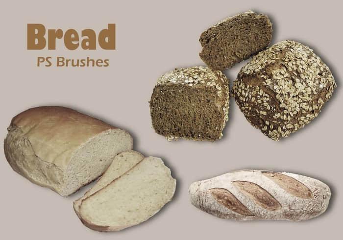 20种食物面包、吐司、干面包食物PS笔刷下载 面包笔刷 吐司笔刷  other brushes