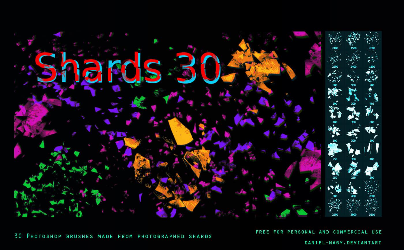 30个碎片、破碎效果纹理PS笔刷下载