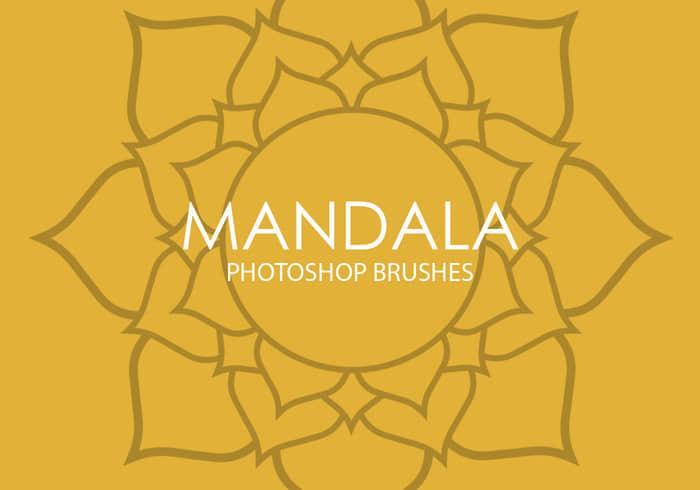 手绘漂亮的太阳花、向日葵花朵花纹Photoshop笔刷Mandala系列