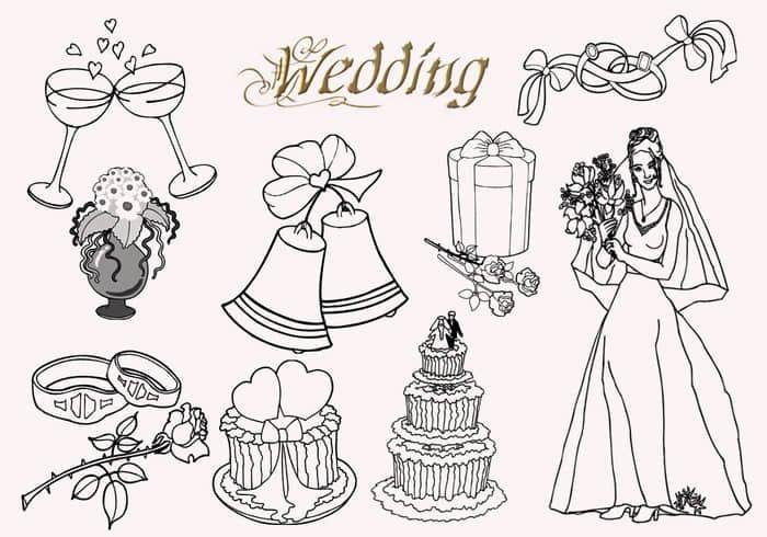 婚礼蛋糕、铃铛、新娘、酒杯、玫瑰花、戒指等线框图形PS笔刷素材下载 婚礼笔刷  %e5%8d%a1%e9%80%9a%e7%ac%94%e5%88%b7