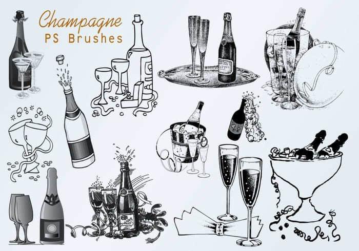 20种香槟图形、酒瓶与酒杯Photoshop笔刷素材
