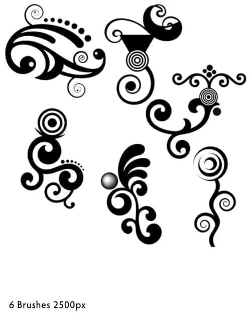 非主流艺术卷曲花纹PS印花笔刷 非主流花纹笔刷 时尚花纹笔刷 卷曲花纹笔刷  flowers brushes