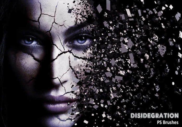 20种解体、破碎、裂开、分裂、解散、碎片分解效果PS笔刷下载