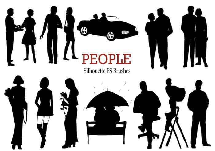 20个欧美人物剪影、人物轮廓Photoshop笔刷下载
