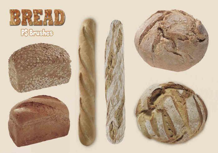 20种烤面包、长棍面包Photoshop食物笔刷 食物笔刷 面包笔刷  other brushes