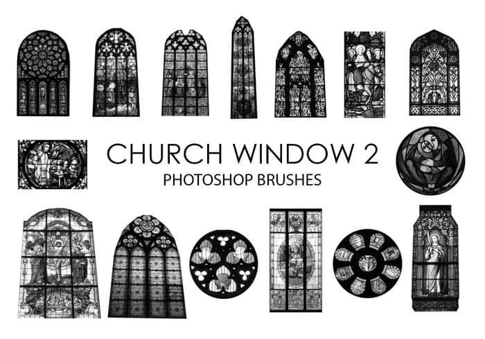 15个高质量的教堂彩色玻璃窗户Photoshop笔刷下载 窗户笔刷 玻璃笔刷 基督教笔刷  %e5%bb%ba%e7%ad%91%e7%ac%94%e5%88%b7