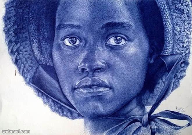 来自非洲艺术家ENAM Bosokah的超真实圆珠笔人物绘画