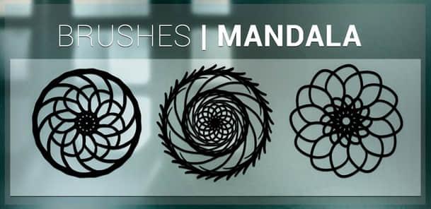 三种曼荼罗花纹图案Photoshop印花笔刷