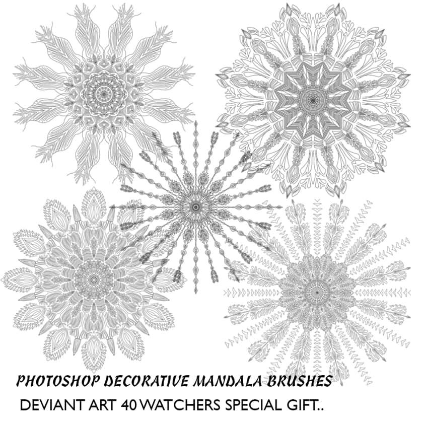 漂亮的万花筒式花纹图案Photoshop笔刷下载 花纹艺术笔刷 万花筒笔刷  adornment brushes flowers brushes