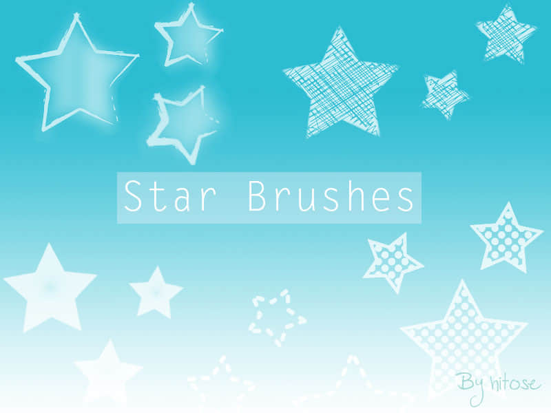 涂鸦五角星、星型图案Photoshop笔刷素材下载