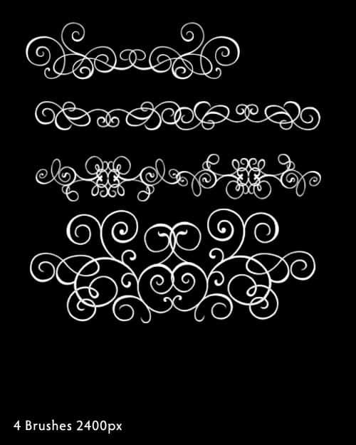 4种手绘漩涡花纹艺术、植物花纹、贵族式经典印花PS笔刷下载