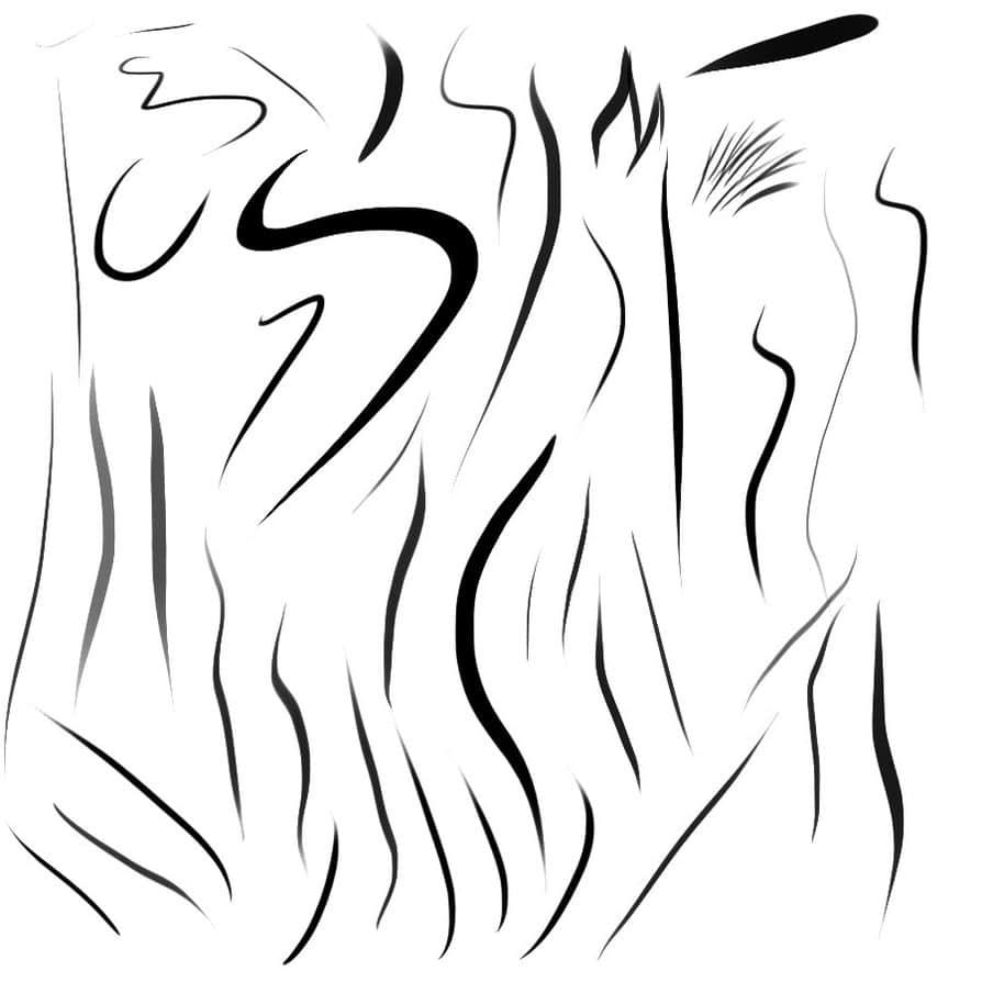 手绘涂鸦线体、各种绘画笔触Photoshop画笔笔刷