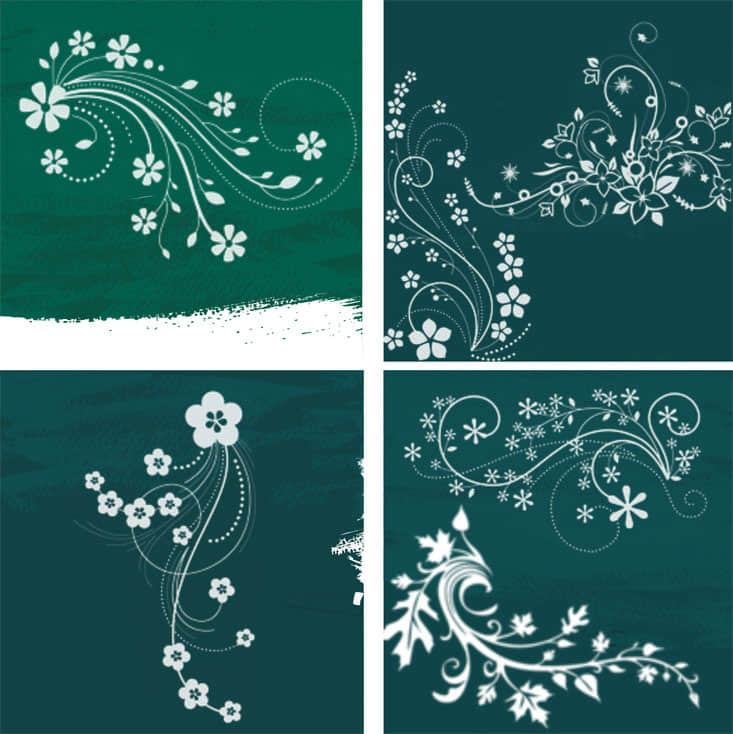 漂亮的植物印花、鲜花图案Photoshop笔刷素材 鲜花图案笔刷 植物花纹笔刷 印花笔刷  flowers brushes