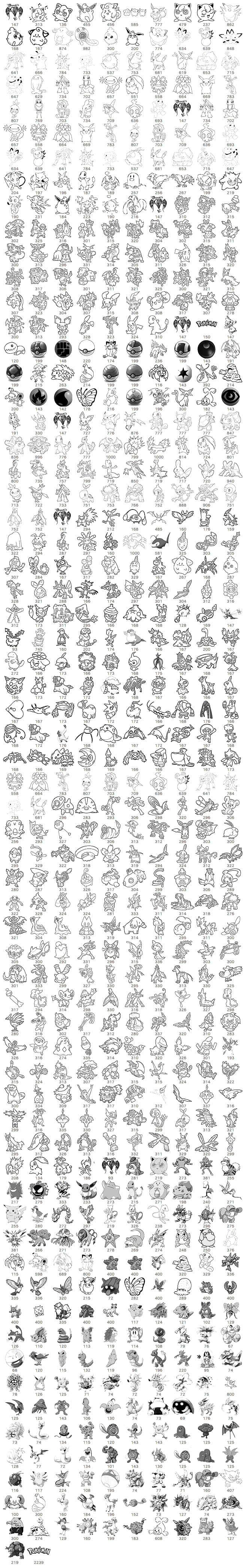 宠物小精灵(Pokemen GO)线框图形PS笔刷素材