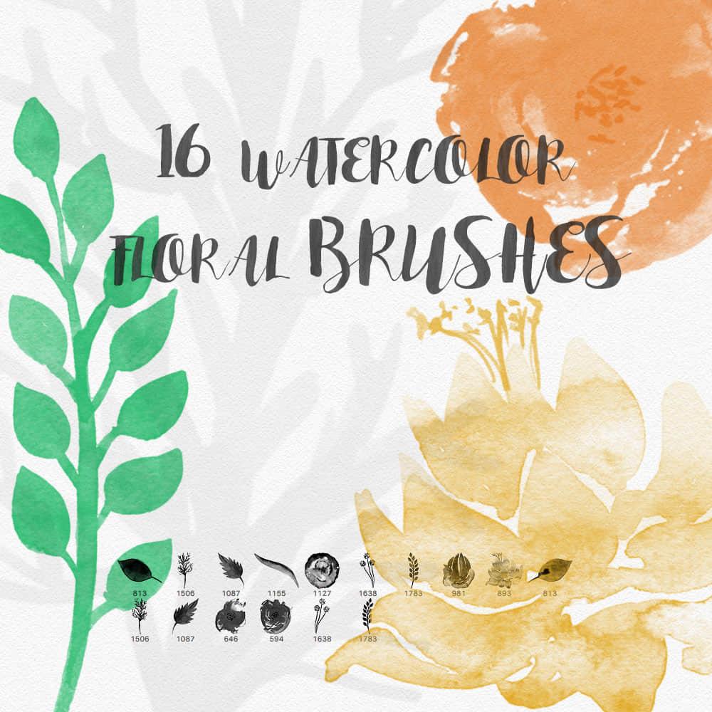 水彩、水粉涂鸦植物鲜花、叶子图案Photoshop笔刷素材