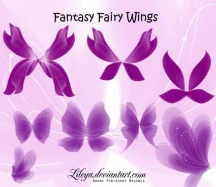 奇幻精灵翅膀、妖姬妖精翅膀Photoshop笔刷下载