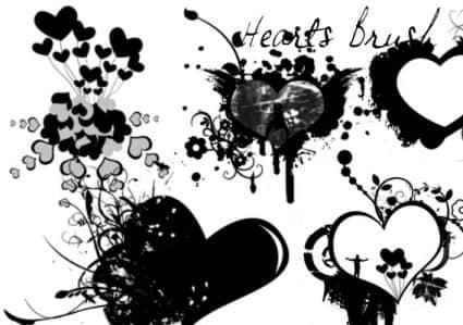 涂鸦喷溅爱心非主流图案Photoshop笔刷素材