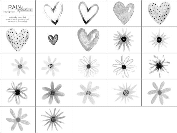 水墨、水彩涂鸦爱心与花朵Photoshop笔刷素材