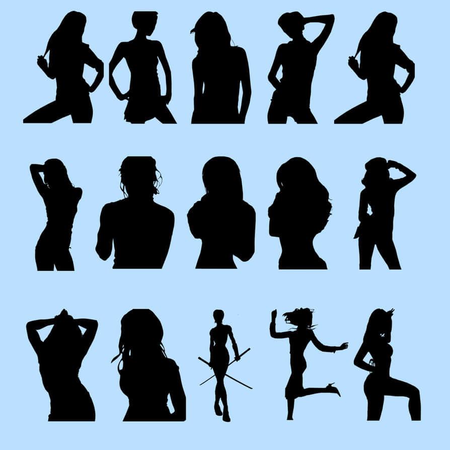 时尚靓丽女性轮廓剪影Photoshop人物造型笔刷 轮廓笔刷 女性笔刷 女人剪影笔刷 剪影笔刷  characters brushes