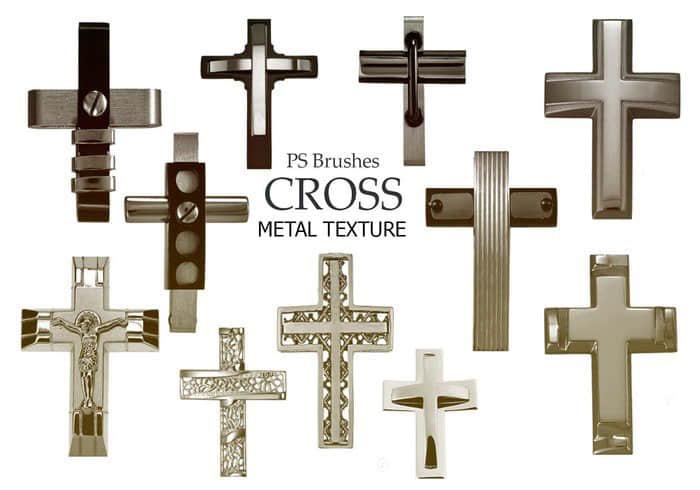 20种金属十字架Photoshop基督教元素笔刷 基督教笔刷 十字架笔刷  other brushes