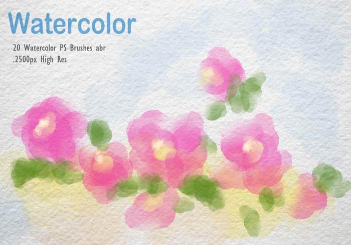20种水彩风格笔刷Photoshop素材免费下载