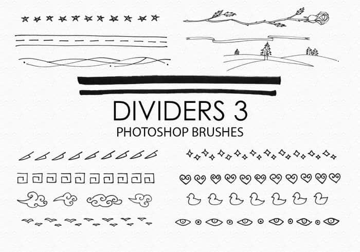 15种手绘回文、云朵、星星、爱心、眼睛等小标记、小图案Photoshop笔刷下载