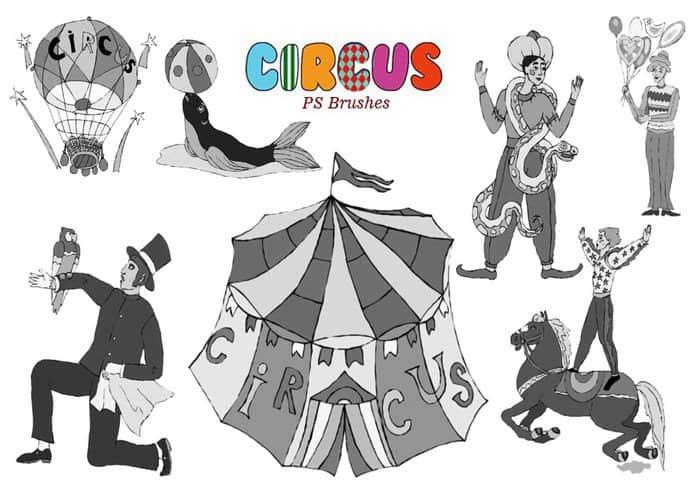 20种马戏团元素图形Photoshop笔刷素材下载