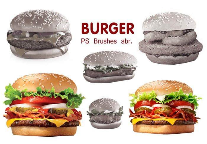真实汉堡包图形素材PS笔刷下载 食物笔刷 汉堡笔刷 汉堡包笔刷  other brushes