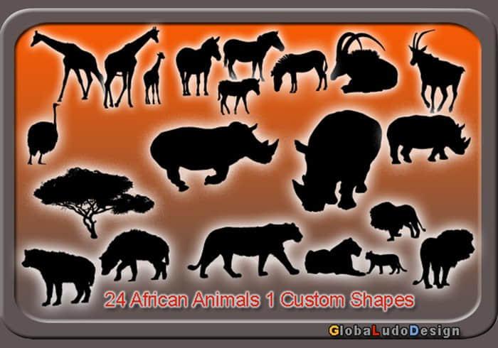 24种非洲动物元素photoshop自定义形状素材 .csh 下载