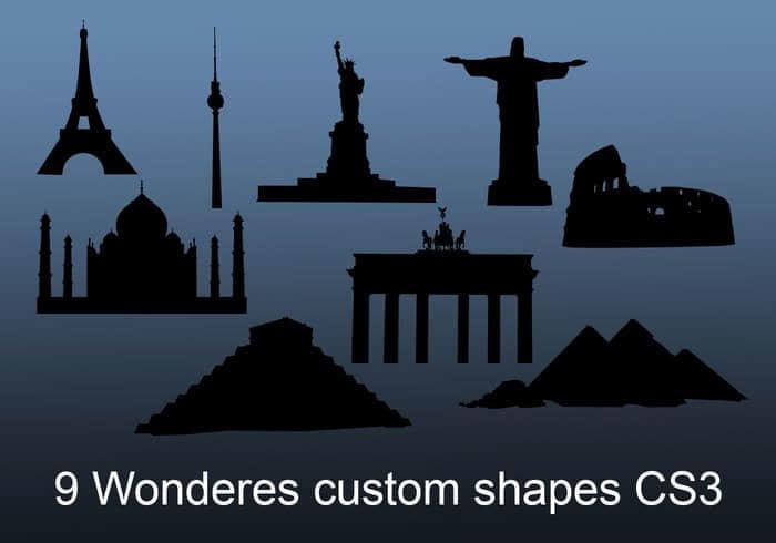 9个世界奇观建筑剪影造型Photoshop自定义形状素材