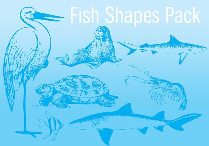 7种版刻式生物造型PS自定义形状素材