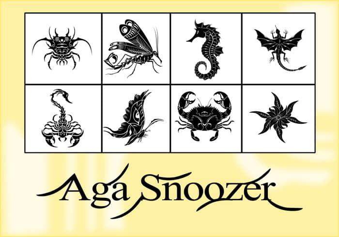 8种精美的创意生物纹饰图形Photoshop自定义形状素材