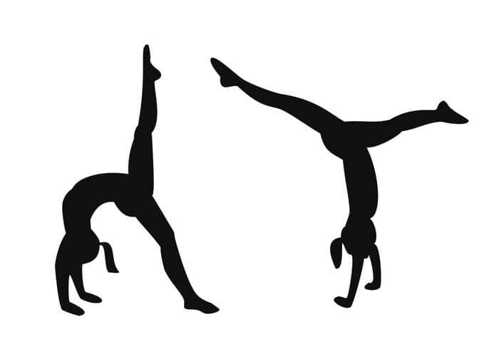 翻滚的体操女孩Photoshop自定义形状剪影素材
